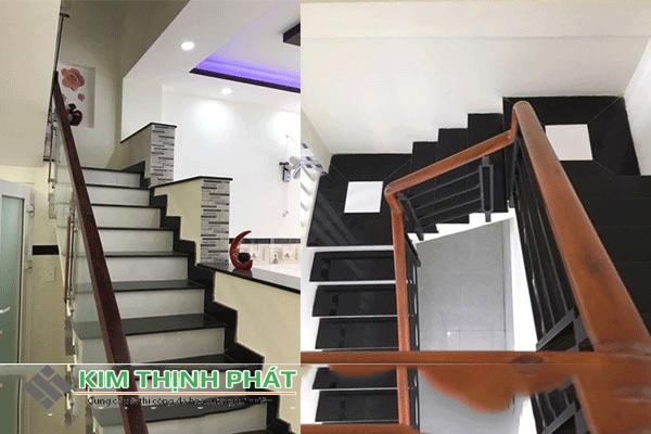 cầu thang đá kim sa xanh