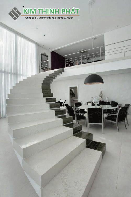 cầu thang đá Carrara marble