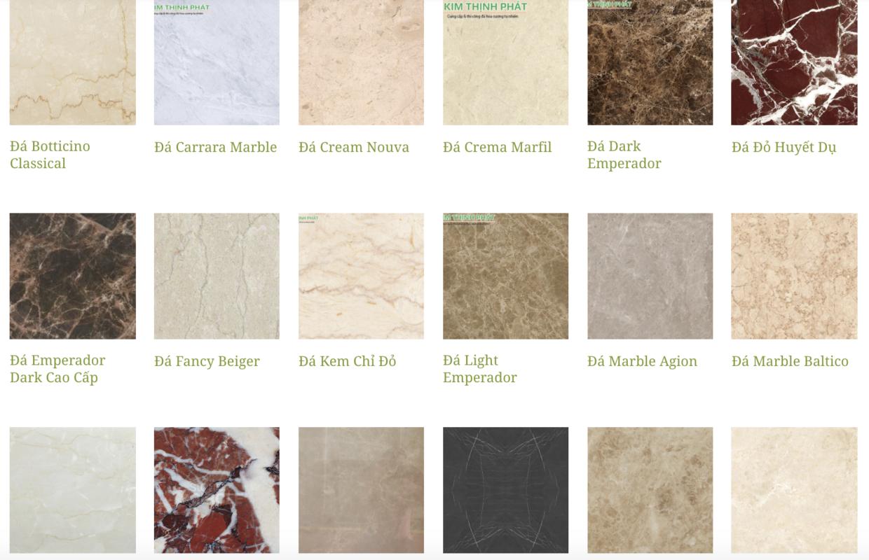 có rất nhiều màu sắc đá marble khác nhau