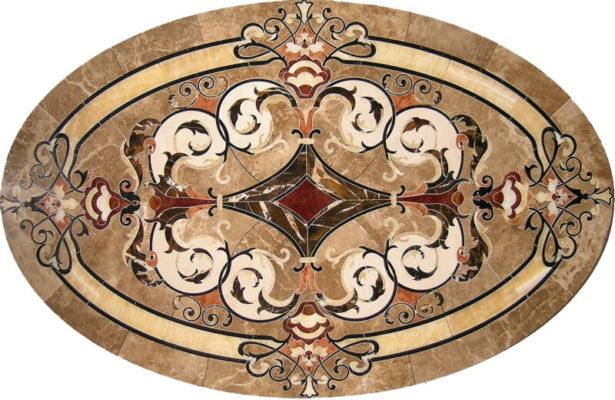 hoa văn đá hình oval