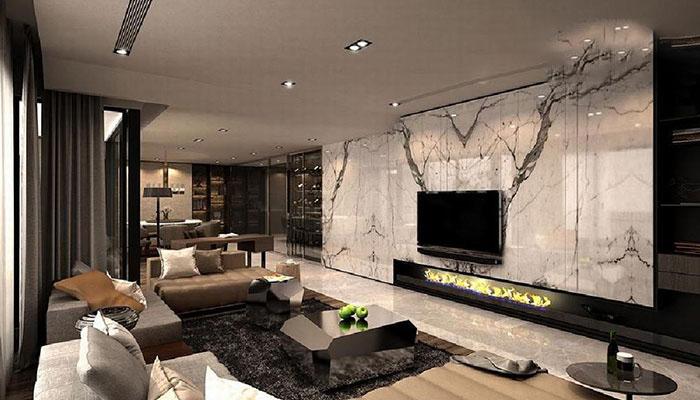 phòng khách với đá tự nhiên ốp tường đẹp