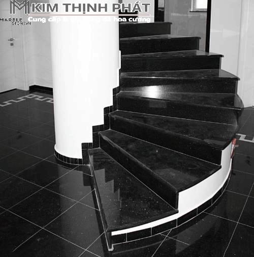 Cầu thang ốp đá Granite đen Kim Sa Trung