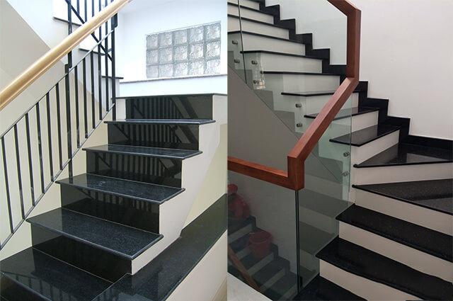 Đá ốp cầu thang màu đen hay được lựa chọn nhất