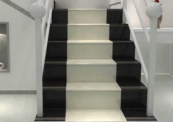 Cầu thang đá màu đen kết hợp màu trắng sứ đẹp