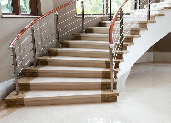 Cầu thang đá trắng nâu