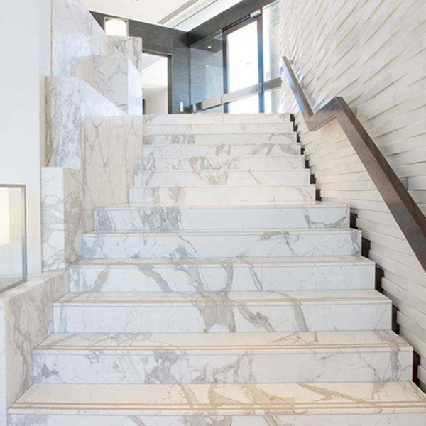 Đá ốp cầu thang marble trắng tự nhiên