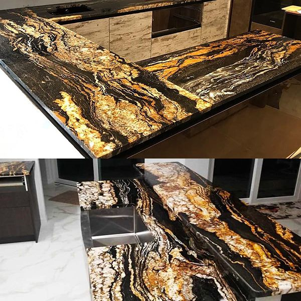 đá ốp bàn bếp màu vàng đen