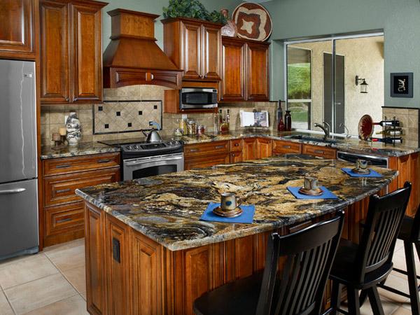 đá ốp bàn bếp màu vàng