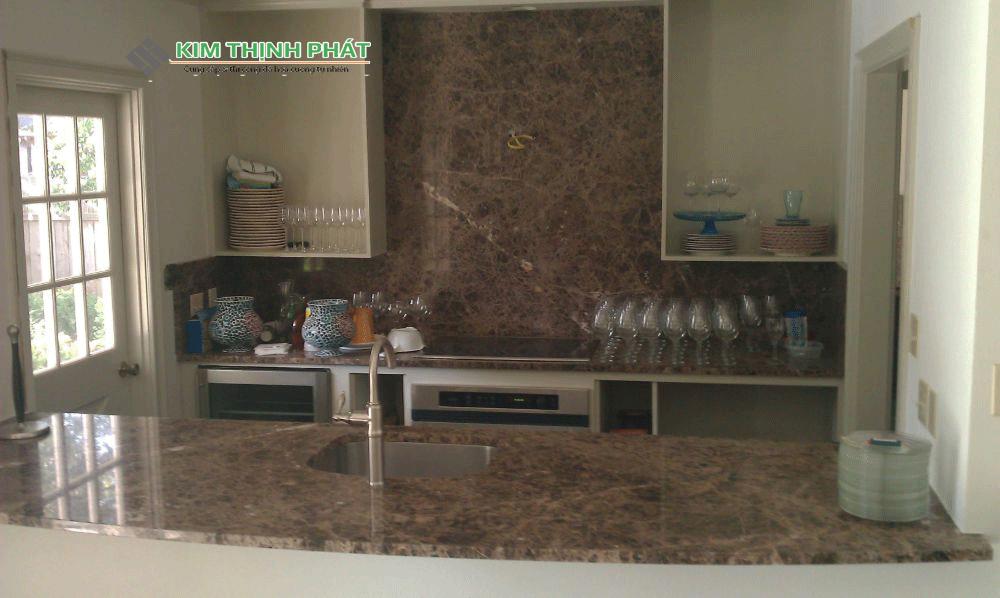 Bàn bếp Tấm Mẫu đá Marble nâu tây ban nha