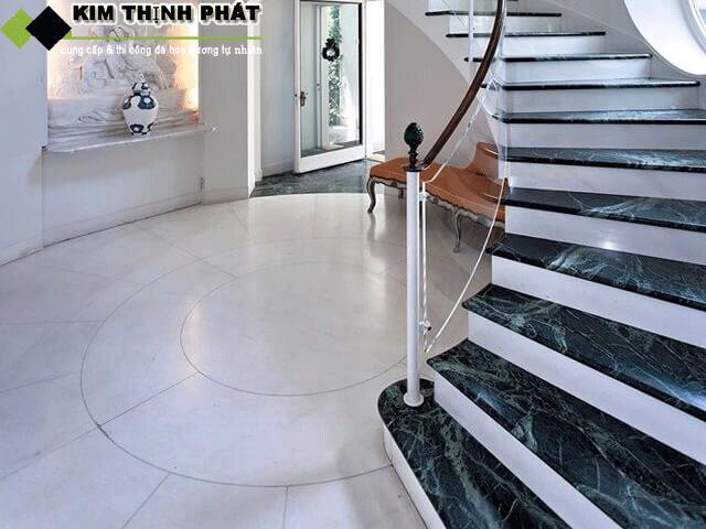 cầu thang đá marble xanh napoli