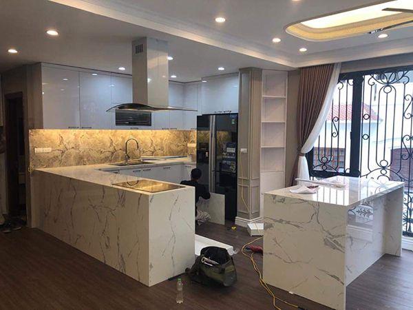 đá ốp bàn bếp marble màu trắng