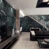 ốp tường phòng khách đá xanh tia chớp